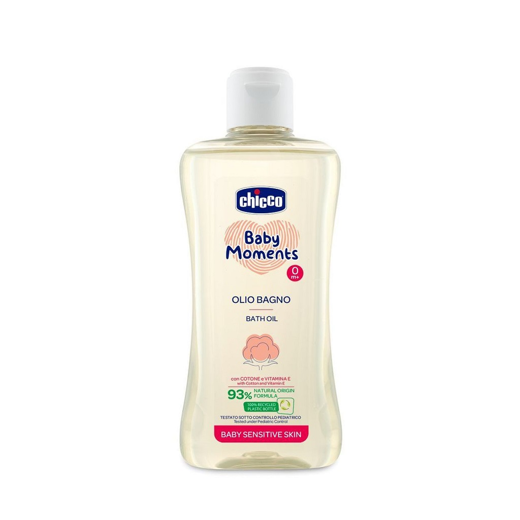 CHICCO Olej do koupele s bavlnou a vitamínem E Baby Moments Sensitive 93 % přírodních složek 200 ml