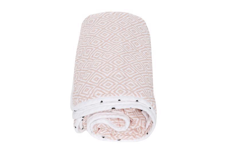 Deka bavlnená mušelínová dvojvrstvová Pre-Washed Pink Squares 95x110cm