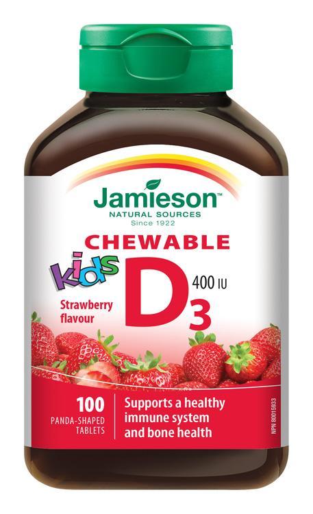JAMIESON Vitamín D3 Kids 400 IU tablety na cmúľanie s príchuťou jahody pre deti 100 tbl.