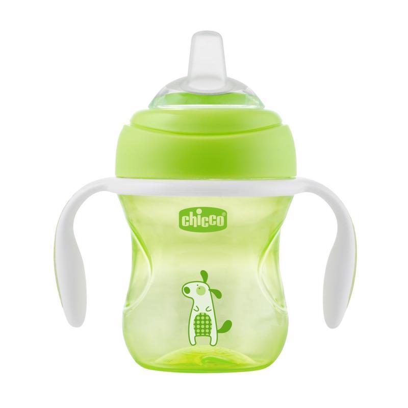 Hrnček Chicco Učíme sa s držadlami 200 ml, zelený 4m+,  zelená