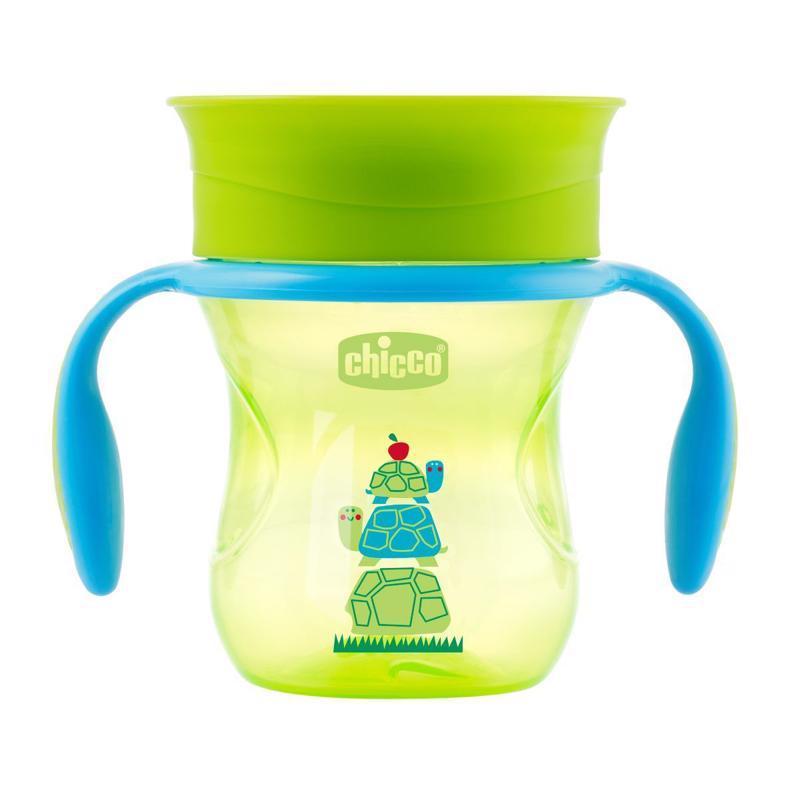 Hrnček Chicco 360 s držadlami 200 ml, zelený 12m+,  zelená