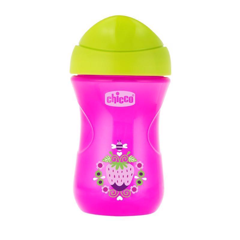 Hrnček Chicco Jednoduchý s tvrdým náustkom 266 ml, ružovo-zelený 12m+,  růžovo - zelená