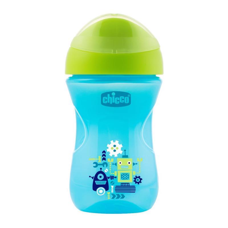 Hrnček Chicco Jednoduchý s tvrdým náustkom 266 ml, modrý, robot 12m+