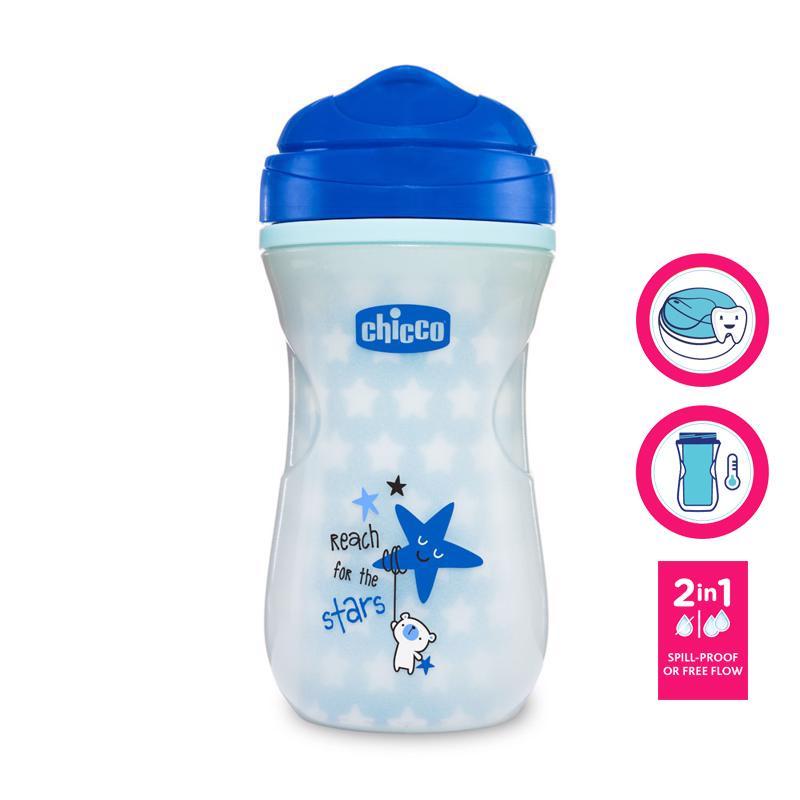 CHICCO Hrnček Shiny termo floureskujúci s tvrdým náustkom 266 ml, modrý 14m+,  V000944