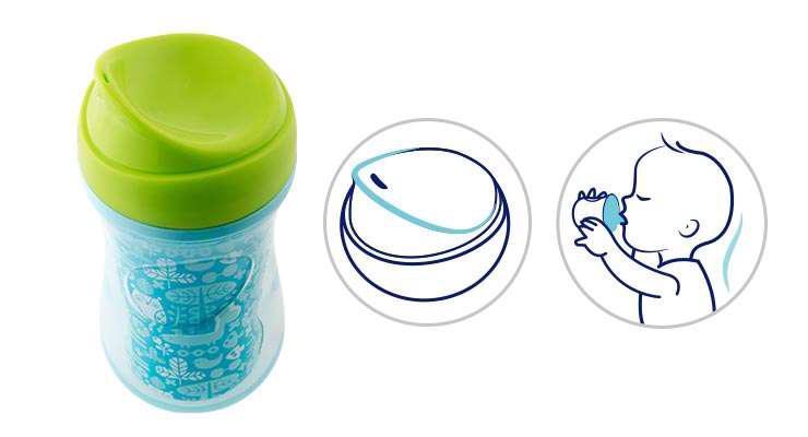 Hrnček Chicco Aktívny termo s tvrdým náustkom 266 ml, modrý, potlač 14m+