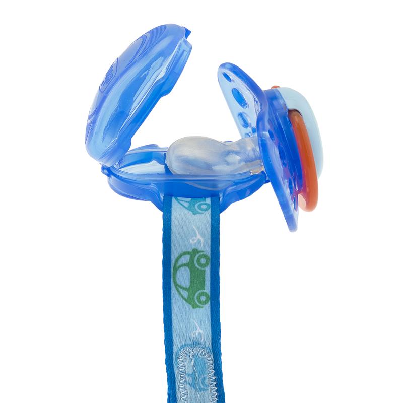 CHICCO Klip na cumlík s krytom - modrý