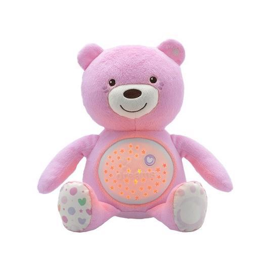 CHICCO Medvedík s projektorom - ružová 0m+