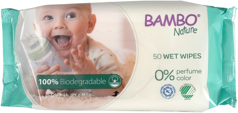 BAMBO Nature Utierky vlhčené biologicky rozložitelné, 50 ks,  V001713