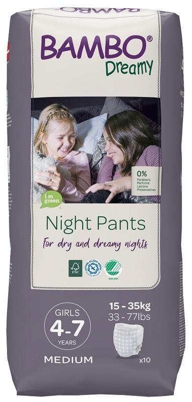 BAMBO Dreamy Night Nohavičky plienkové jednorázové Pants Girl 4-7 rokov, 10 ks, pre 15-35 kg,  V001489