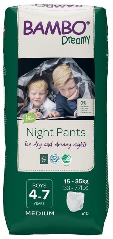 BAMBO Dreamy Night Nohavičky plienkové jednorázové Pants Boy 4-7 rokov, 10 ks, pre 15-35 kg,  V001489