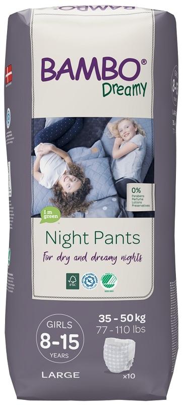 BAMBO Dreamy Night Nohavičky plienkové jednorázové Pants Girl 8-15 rokov, 10 ks, pre 35-50 kg,  V001489