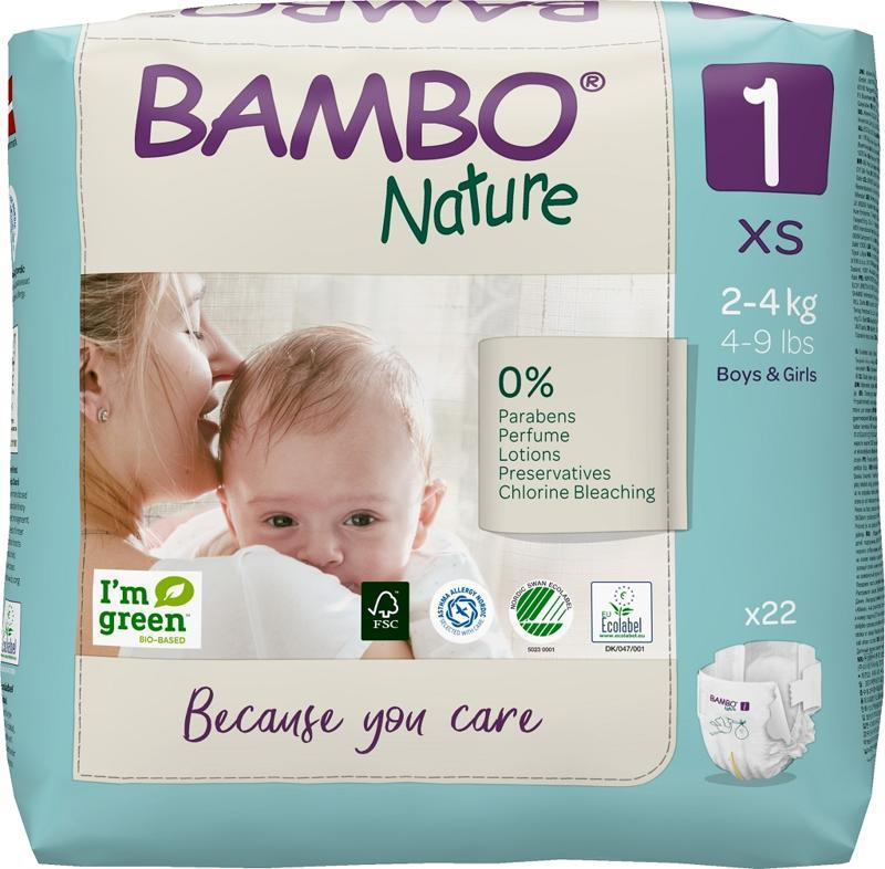BAMBO Nature Plienky jednorázové 1, 22 ks, pre 2-4 kg