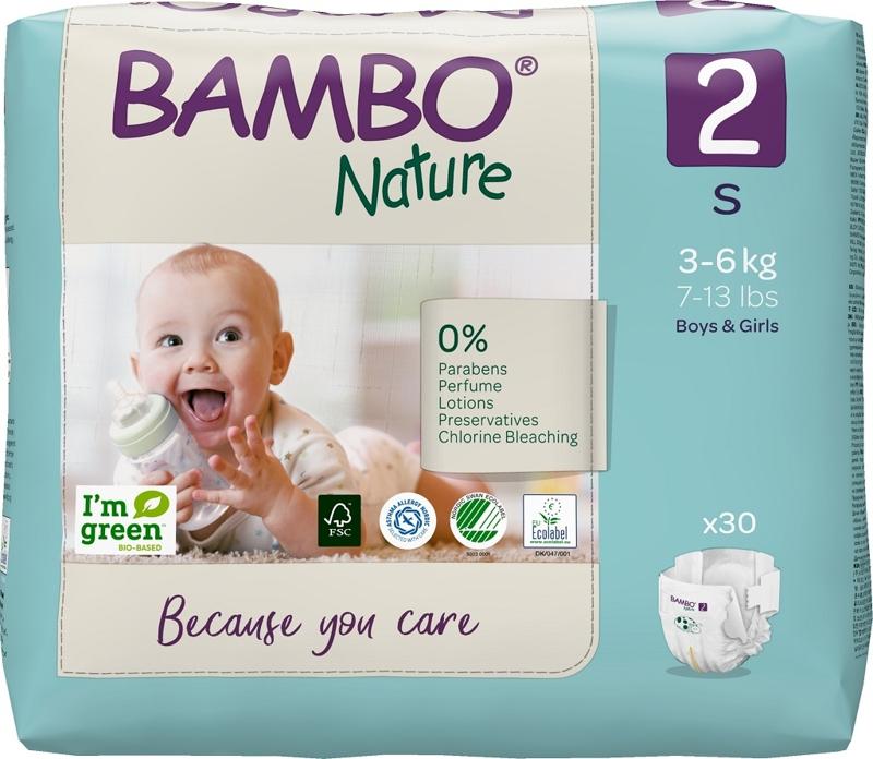 BAMBO Nature Plienky jednorázové 2, 30 ks, pre 3-6 kg