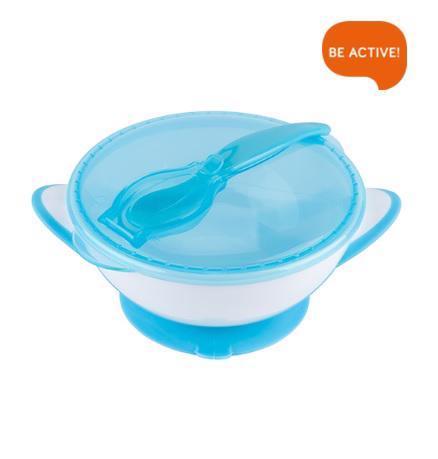 Miska uzatvárateľná s prísavkou, lyžičkou - modrá 300 ml