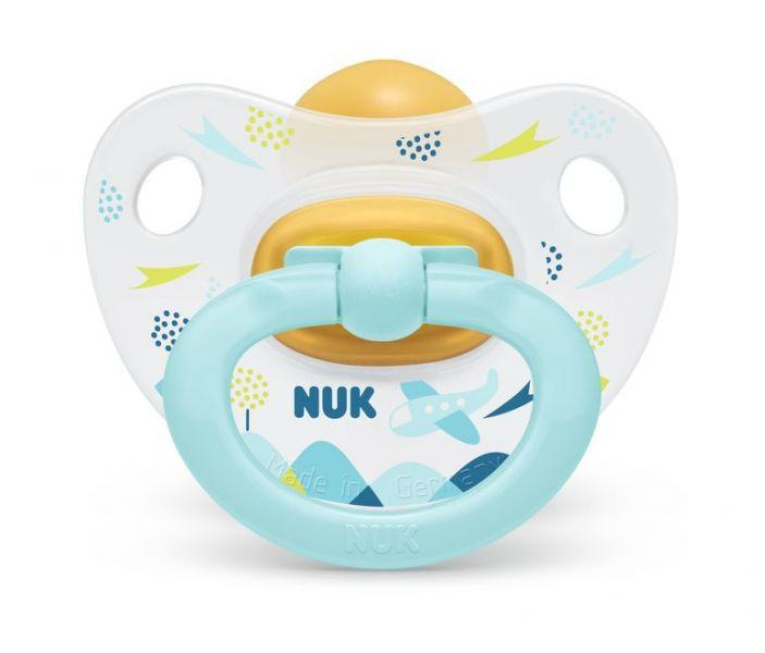 NUK Cumlík Happy kids, latex, V1 (0-6 m.) + box Modré lietadlo