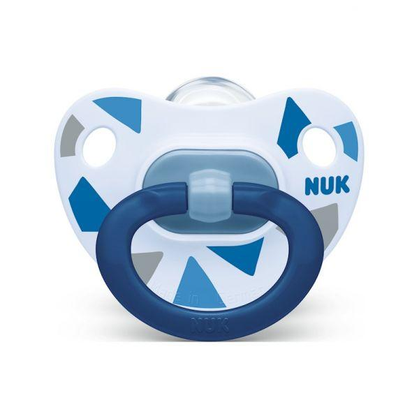 NUK Cumlík Happy days, silikón, V2 (6-18 m.) + box modrý