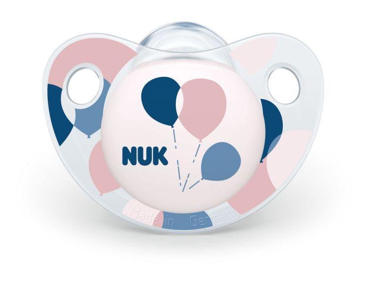 NUK Cumlík Trendline, silikón, V2 (6-18m.) - ružové balóniky