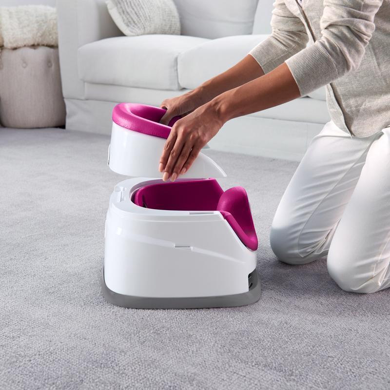 INGENUITY Podsedák na stoličku 2v1 Baby Base Pink Flambe 6 m+, do 22 kg