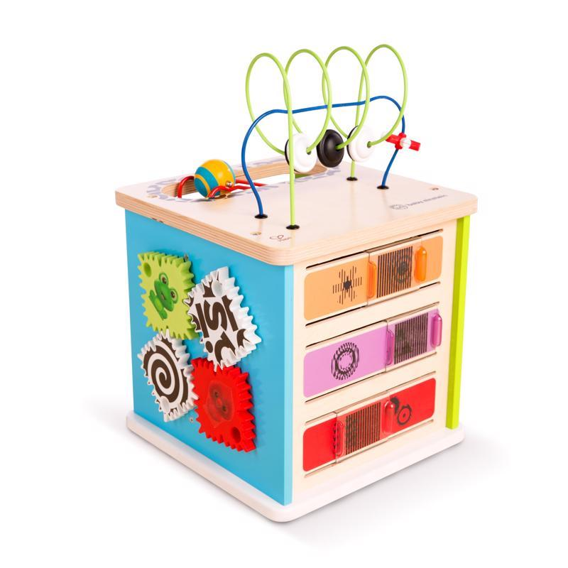 BABY EINSTEIN Hračka drevená aktívna kocka Innovation Station HAPE 12m+