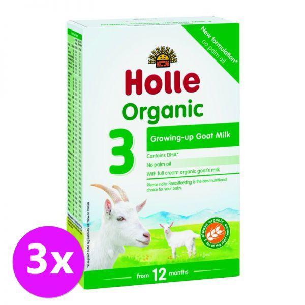 3 x HOLLE Bio Detská mliečna výživa na bázi kozieho mlieka , pokračovacia formule 3