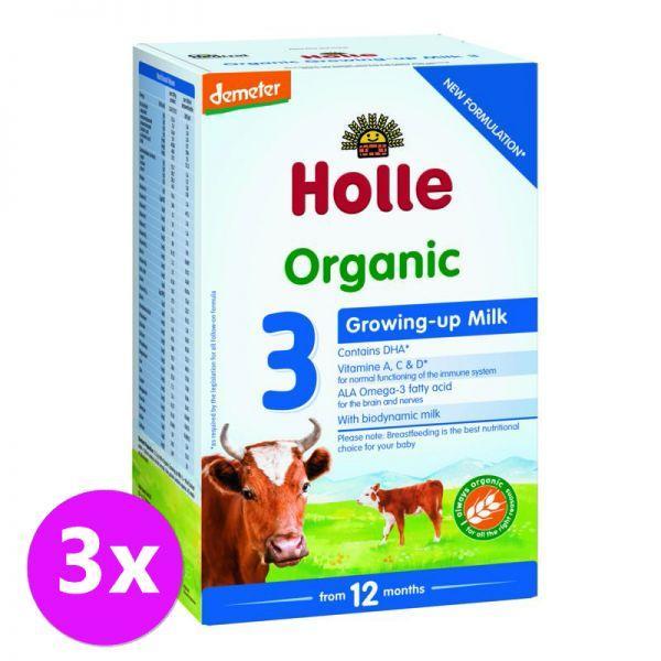 3 x HOLLE Bio Detská mliečna výživa 3 pokračovacia