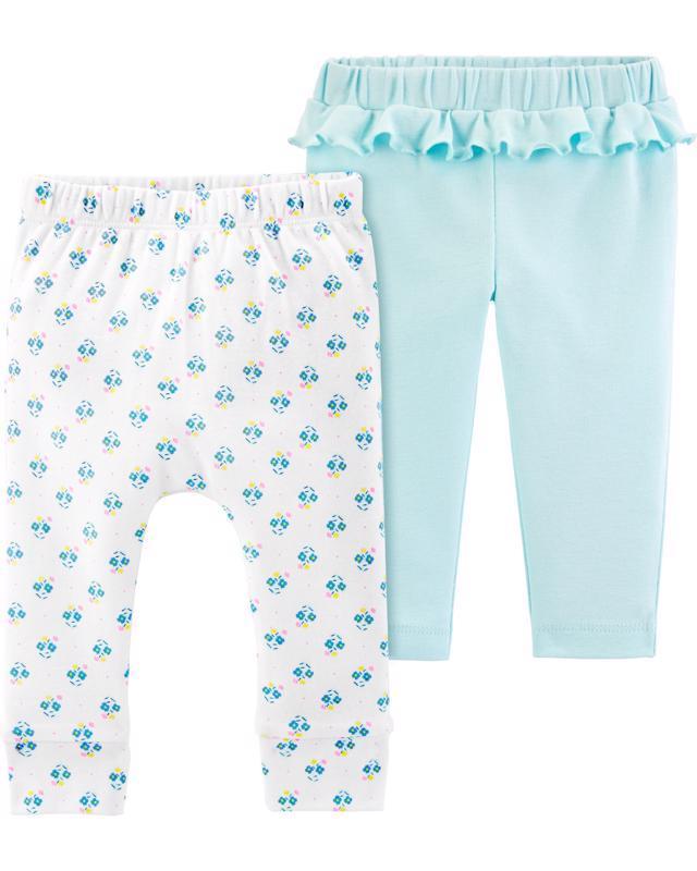 Nohavice dlhé - biela-modrá 2ks,-24m