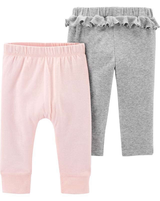 Nohavice dlhé - šedá-ružová 2ks, 3m