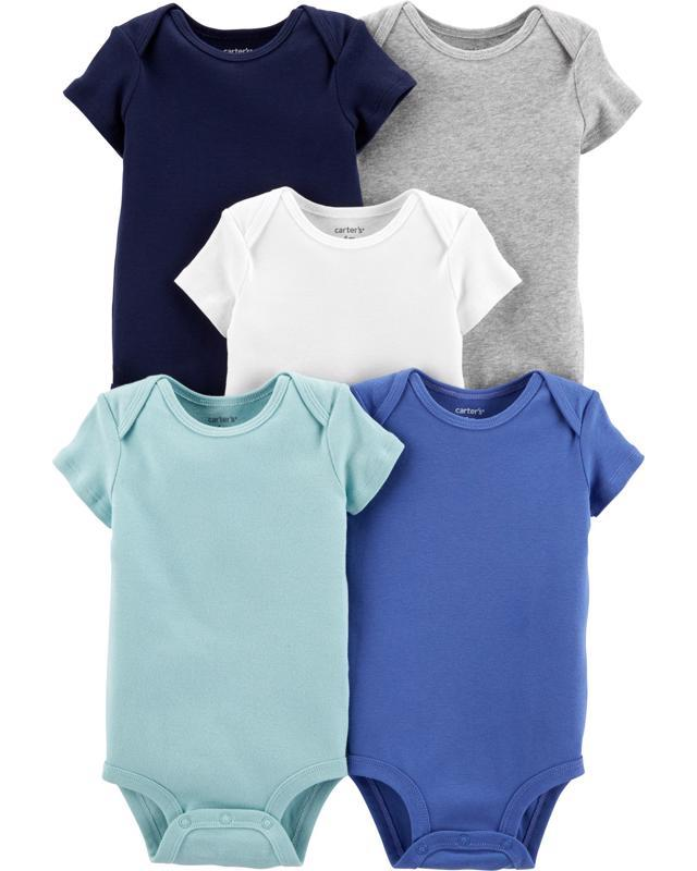 Body Jednofarebné krátky rukáv - 5ks, 24m