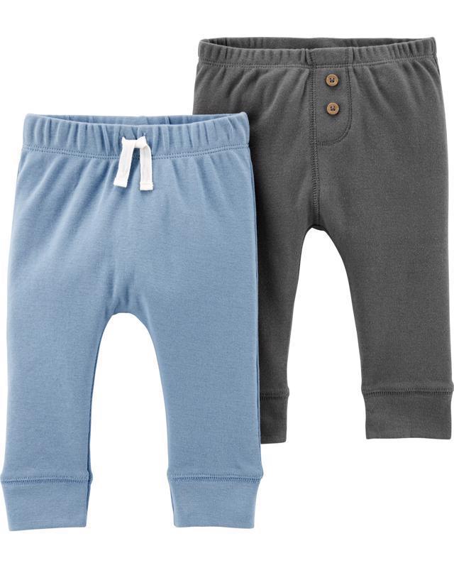 Nohavice dlhé - modrá-šedá 2ks,12m