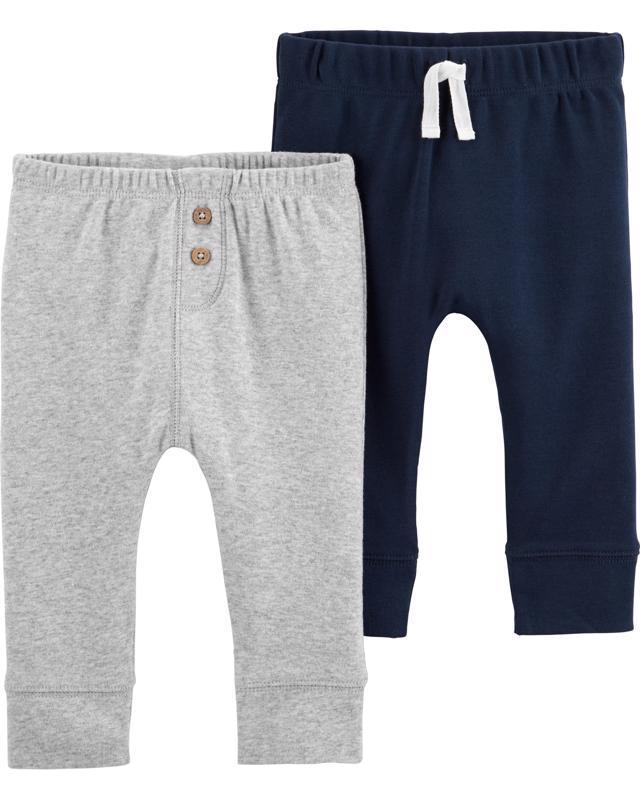 Nohavice dlhé - sivá-modrá 2ks, 12m