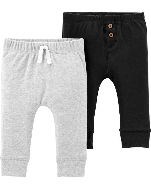 Nohavice dlhé - sivé-čierne 2ks,6m