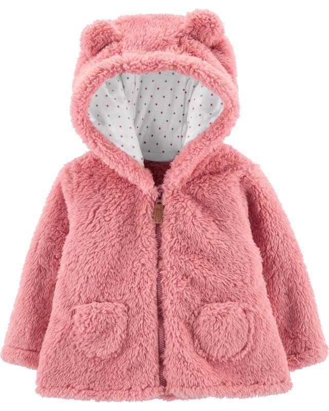 Kabátik s kapucňou - ružový, 12m