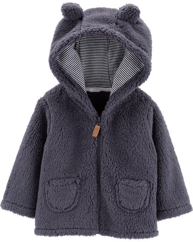 Kabátik s kapucňou - šedý, 12m