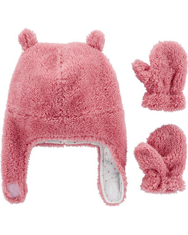 Set 2-dielny sherpa čiapka-rukavice-ružová, 12-24m