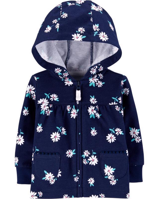 Mikina na zips s kapucňou Flowers dievča 18m