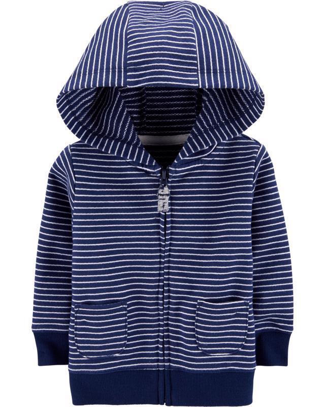 Mikina na zips s kapucňou Strips Blue chlapec 6m
