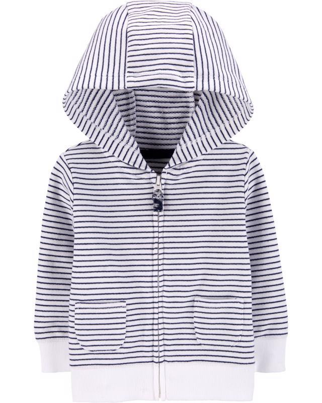 CARTER'S Mikina na zips s kapucňou Strips White chlapec 12 m /veľ. 80