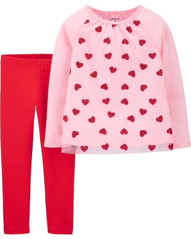 CARTER'S Set 2dielny tričko, legíny Heart dievča 6 m /veľ. 68, veľ. 68