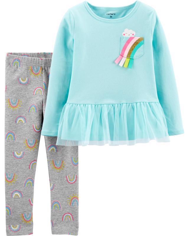 CARTER'S Set 2dielny tričko, legíny Rainbow dievča 12 m /veľ. 80, veľ. 80