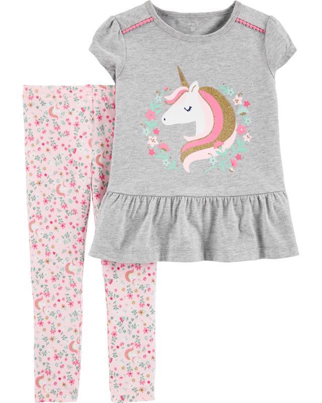 CARTER'S Set 2dielny tričko krátkyrukáv, legíny Unicorn dievča 6 m /veľ. 68
