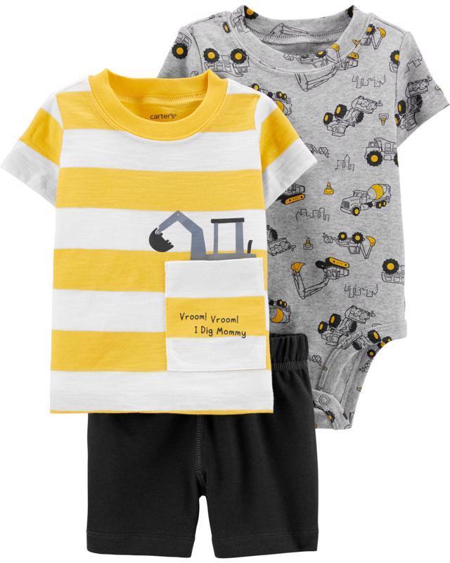 Set 3-dielny body kr.rukáv, tričko kr.rukáv, nohavice krátke Construction chlapec 6m