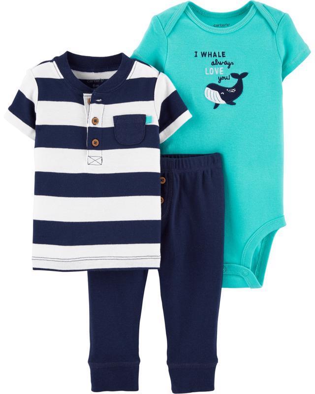 CARTER'S Set 3dielny body, tričko krátkyrukáv, nohavice Whale chlapec LBB 9 m /veľ. 74