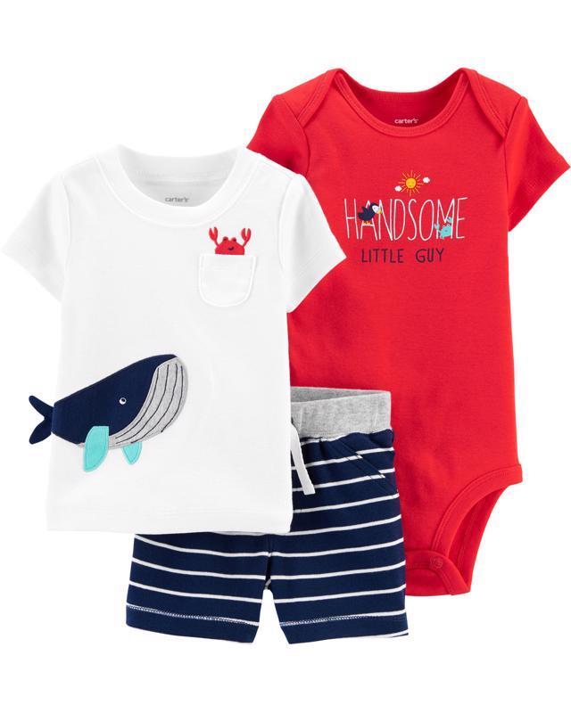 CARTER'S Set 3dielny body, tričko krátkyrukáv, nohavice krátke Whale chlapec LBB 6 m /veľ. 68