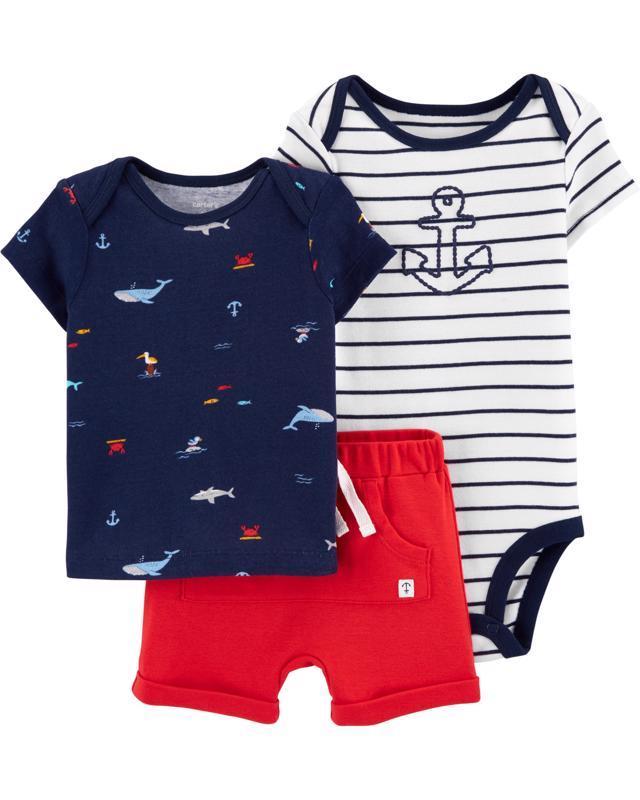 CARTER'S Set 3dielny body, tričko krátkyrukáv, nohavice krátke Sailor chlapec LBB 6 m /veľ. 68
