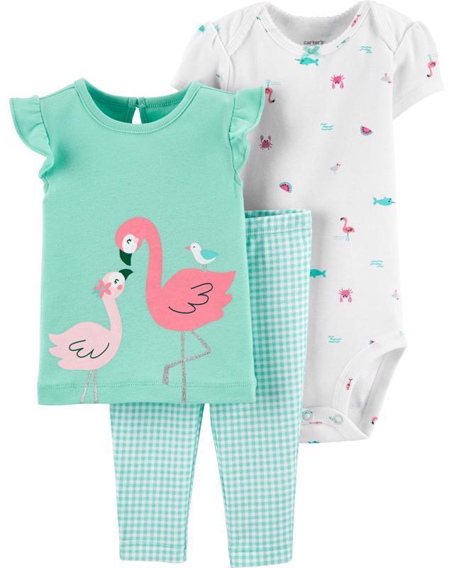 CARTER'S Set 3dielny body, tričko krátky rukáv, nohavice Flamingo dievča LBB 9 m /veľ. 74