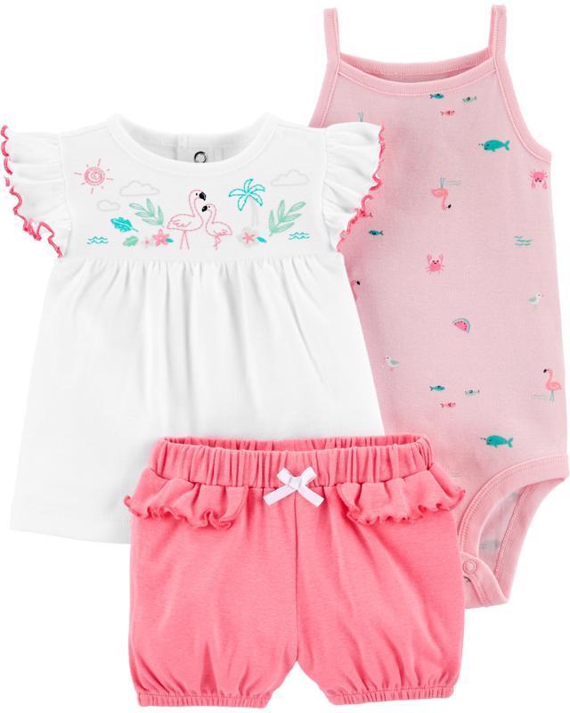 CARTER'S Set 3dielny body tielko, tričko, nohavice krátke Flamingo dievča LBB 12 m /veľ. 80