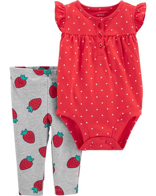 Set 2-dielny body bez rukávov, legíny Strawberry dievča 12m