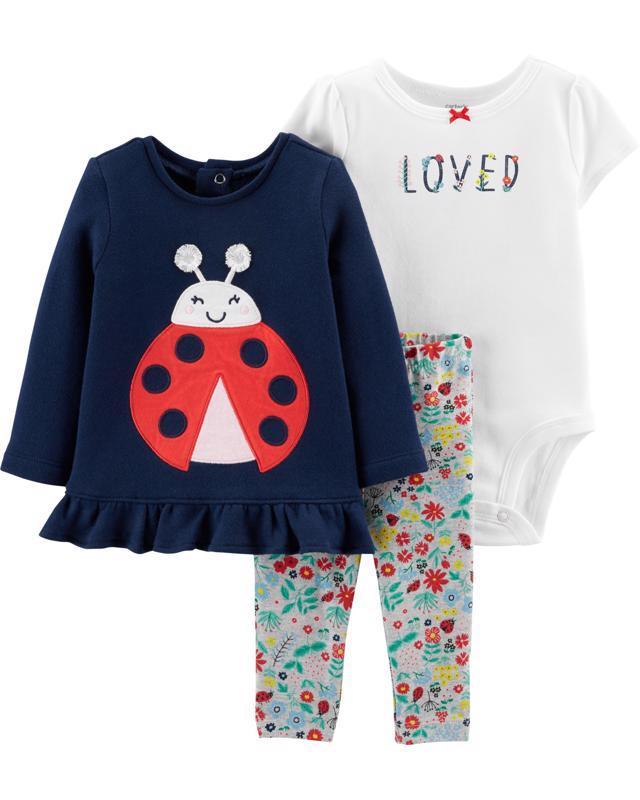 CARTER'S Set 3dielny body, tričko, legíny Ladybug dievča 3 m /veľ. 62