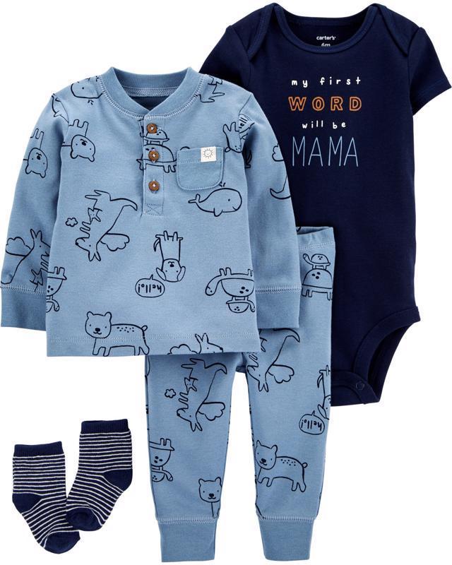 CARTER'S Set 4dielny body, tričko, nohavice, ponožky chlapec NB/ veľ. 56