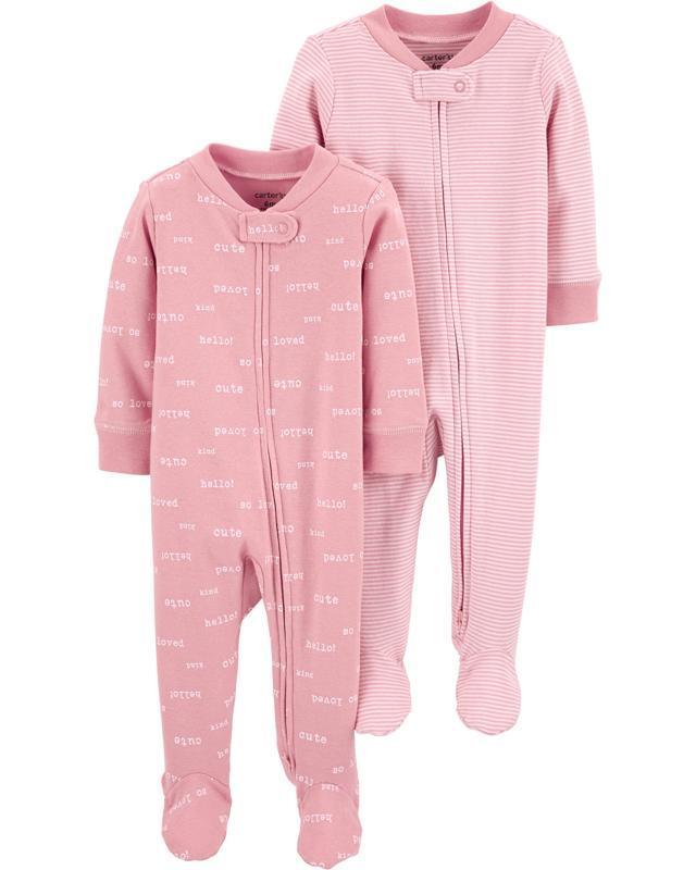 CARTER'S Overal na zip Sleep&Plays Pink dievča LBB 2 ks NB/ veľ. 56,  V001229